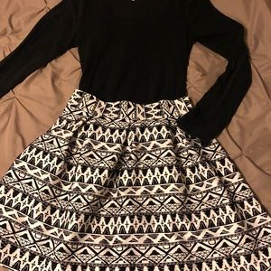 Aztec Print Skater Skirt - LIKE NEW